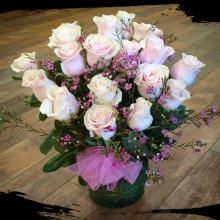 Dozen-and-one-half Pink Mondial Roses in Cylinder Vase