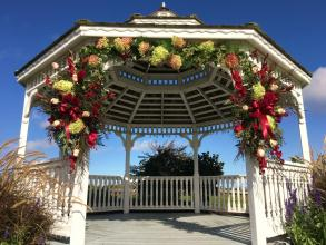 Arbor and Gazebo Display with Burgundys