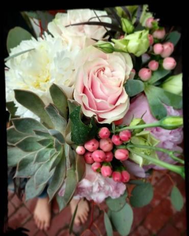 Bride\'s Maid Bouquet With Peony Succulent Hypericum and Eucalypt