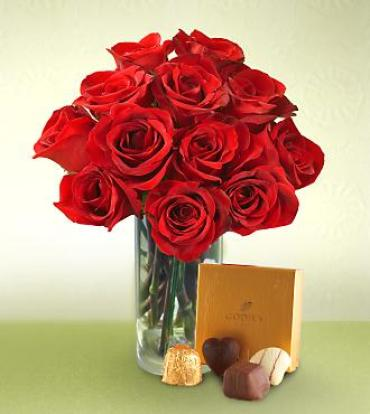One Dozen Red Roses with a box of premium Chocolates