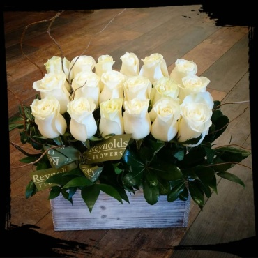 Dozen-and-a-half (18) White Mondial Rose Box Bouquet