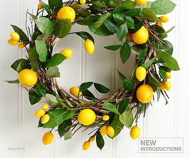 "18"" Lemon Wreath  Yellow"