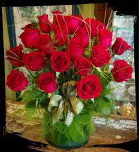 Two Dozen Red Roses, Vased and Dressed
