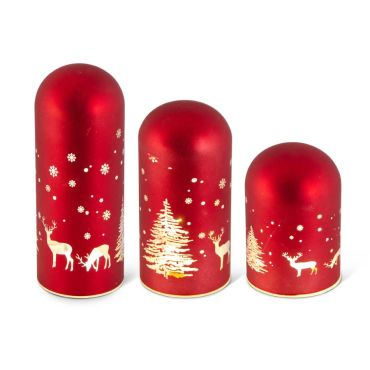 Glass Domes with Deer and Trees, Matte Red LED, Small