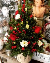 Large Boxwood Tree, white lisianthus, winter berry & red rose