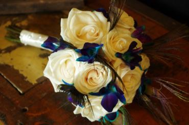 Peacock, Indigo and Blue Orchid Bride\'s Maid Bouquet