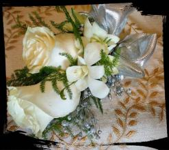 CORSAGE, SILVER AND WHITE