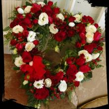 Red & White Heart of Rose, Lisianthus & Hypericum