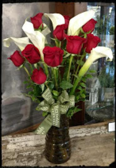Dozen Red Roses and Half-dozen White Callas, Vased