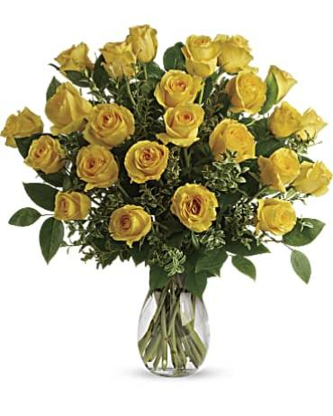 Two Dozen (24) Yellow Roses, Vased