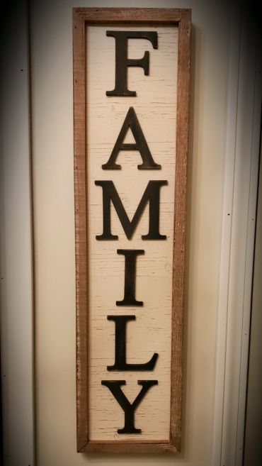 Family Sign, Metal Letters on Wood