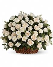Four-dozen White Rose Basket