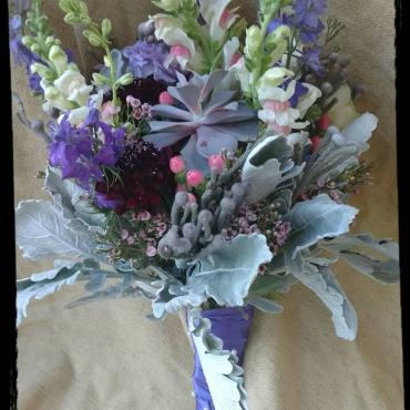 Lavender and Frost Gathered Bridal