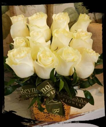 White Rose Cube Bouquet
