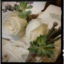 Boutonniere with Brunia, Succulent, Rose & Burlap Hand-wrap