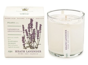 KOBO Candle - Lavender, with plantable biodegrable seed pack\'g
