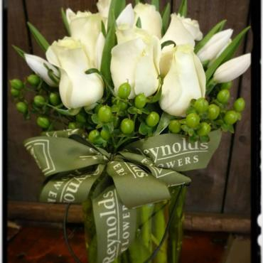 White Rose, White Tulip, Green Hypericum Cylinder