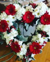 Heart-shaped Wreath in Red & White
