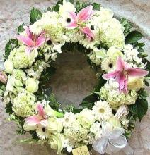 Wreath, multi-flora in white