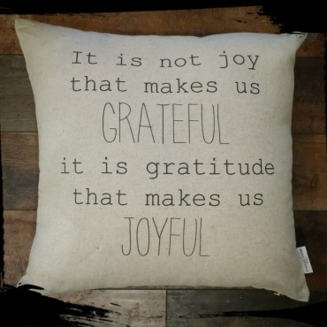 Grateful Joyful Inspirational Decor Pillow