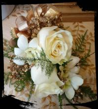 CORSAGE, WHITE AND GOLD