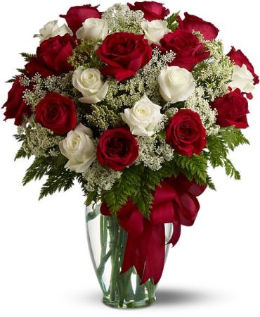 Two-dozen Red & White Roses, Vased and Dressed