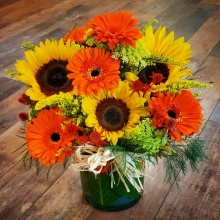 Sunflower Gerbera Sunshine Vase