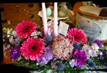 Easter Candle Centerpiece, Pinks, Asymetric