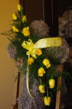 Moss Cross with Dozen Yellow Roses