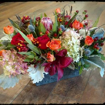 Protea and Rose Autumn Box Bouquet