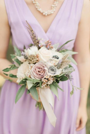 White Anemone Bouquet with Pheasant Feathers