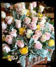 Four-dozen Pastel Rose Basket