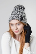 Soft knubby knit pom beanie with criss-cross lace-up, B&W