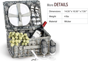 Boothbay 2 Person Picnic Basket with Accessories | Grey / Willow