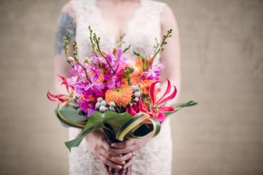 Tropical Pink and Orange Bouquet with Orchids and Lilies