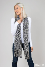Simply Noelle Soft Knubby Knit Fringe Scarf, black & white