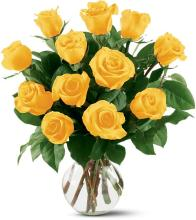 12 Yellow Roses Vased