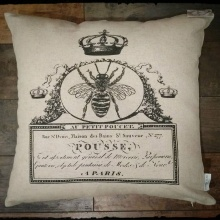 French Bee Inspirational Decor Pillow