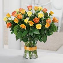 24 Yellow & Orange Roses Vased