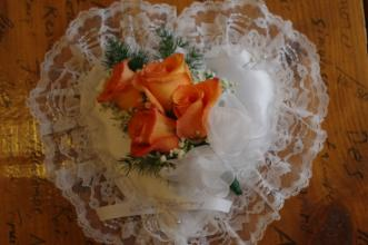 Satin Heart with Orange Roses