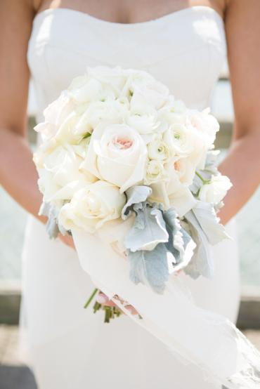Ivory Rose Bouquet with Ranunculus and Dusty Miller