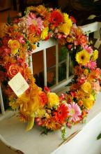 Autumn Wreath with Pinks