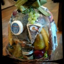 Cheese Fruit and Wine Grapevine Basket