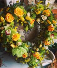 Heart-shaped Wreath in Yellow & Green