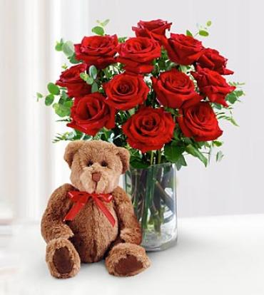 Red Rose Bouquet with Bear