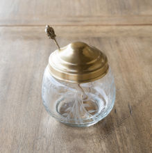 Antique Brass and Etched Glass Jam Jar with Spoon