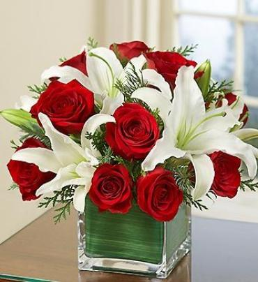One-dozen Red Roses and Lily Cube Bouquet