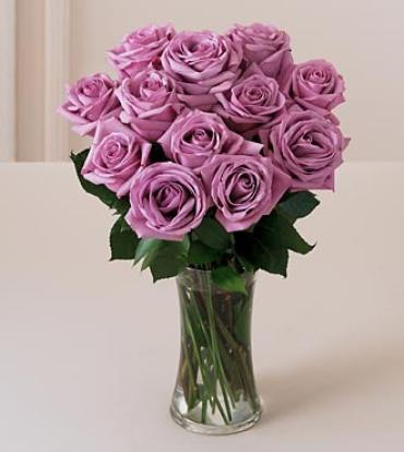 A Dozen Lavender Rose Bouquet