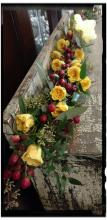 CASKET ADORNMENT WITH YELLOW ROSE & CRANBERRY