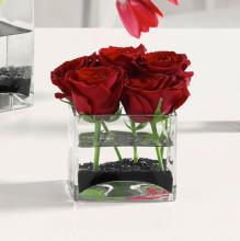 6 Red Roses in Glass Cube